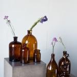 Rudo stiklo buteliai, 10 - 30 cm