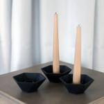 Juodos geometrinės žvakidės - 9,5 cm, 4 cm (H), 20 vnt