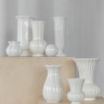Skirtingų dizainų baltos keramikinės vazos: ø 5-20cm, H 6 - 26cm