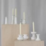 Baltos spalvos skirtingų dizainų keramikinės žvakidės: H nuo 4 - 18 cm