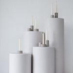 Betoninės žvakidės ir apvalios kolonos