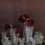 Raižyto stiklo vazelės, 9 - 20 cm (H)