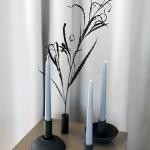 Juodos ilgų žvakių žvakidės ø 13 cm, H 13 cm (max) arba H 10 cm (min)