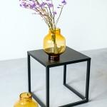 Gintaro spalvos stiklinės vazos - ø 8cm (kakliukas), plačiausia vieta ø 18 cm, H 25 cm