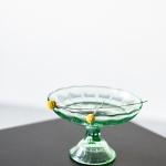 Žalsvo stiklo indas ant kojelės - ø 19cm, H 12 cm