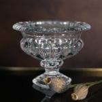 Raižyto stiklo vaza - Sidabriniai indeliai - ø 20 cm, 15 cm (H), 3 vnt