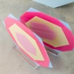 Akrilinio stiklo šešiakampiai: H 49cm, plotis 54cm