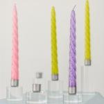 Akrilinio stiklo žvakidės: ø5cm H8cm - 3vnt; ø5cm H12,5cm - 1vnt; ø5cm H6cm - 1vnt; ø5cm H4cm - 1vnt; ø6cm H5cm - 2vnt