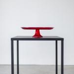 Raudono stiklo tortinė: ø 33cm H 10cm