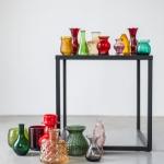 Spalvoto stiklo vazelės: H nuo 7,5 - 18cm